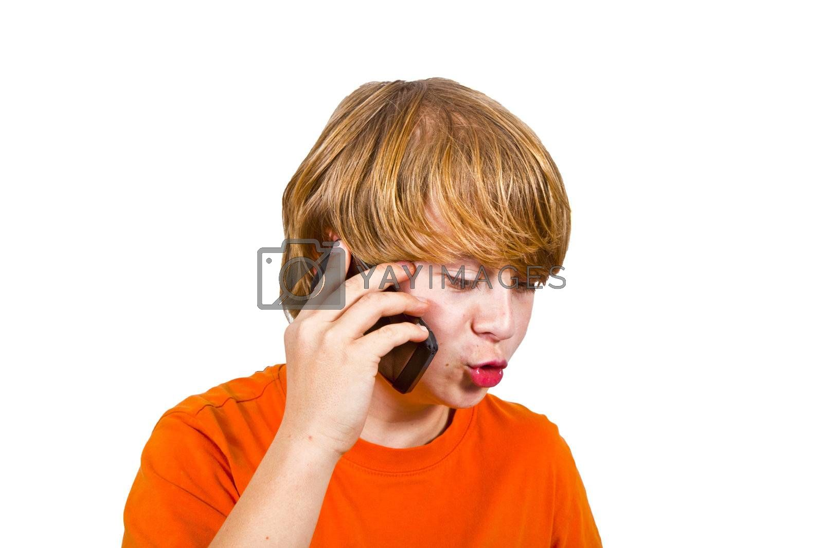 boy is using the mobile and speaks