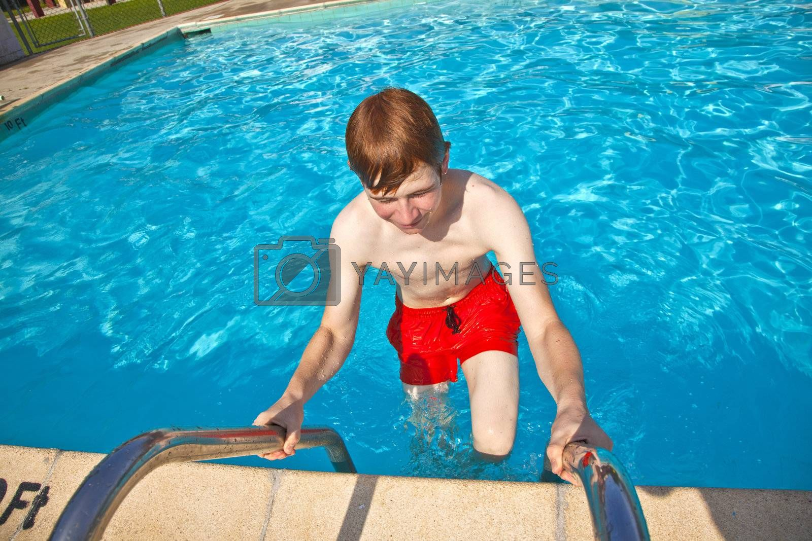 child has fun in the pool