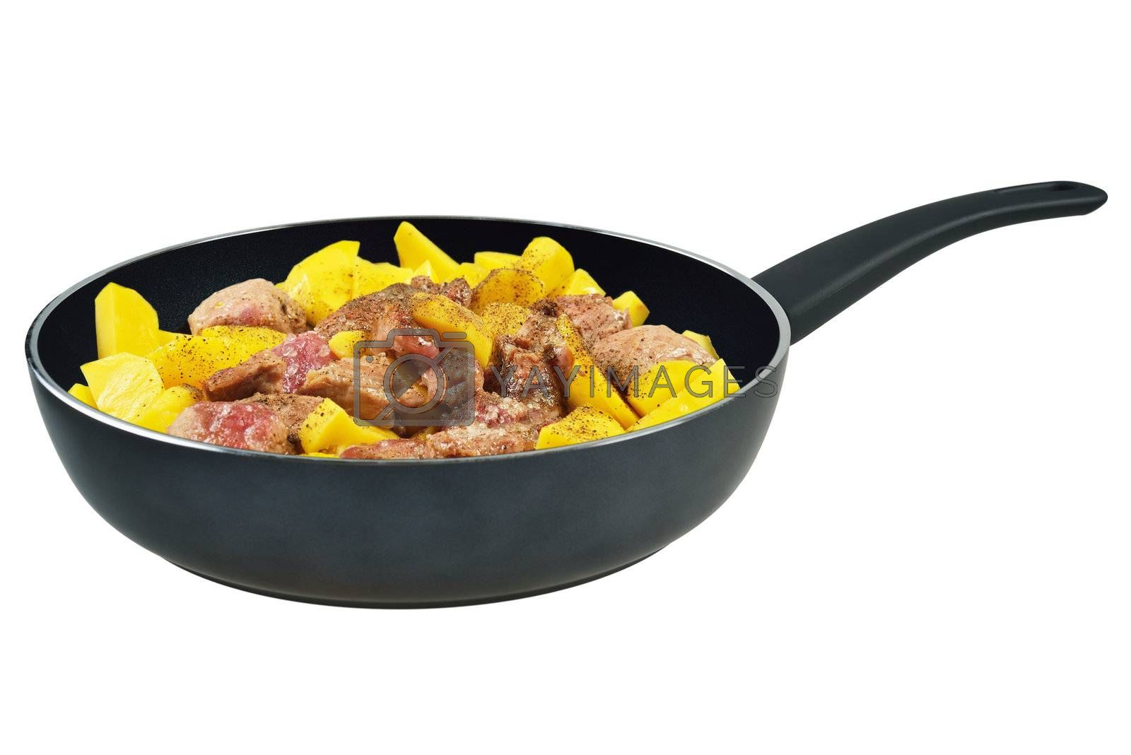 Pan with meat and potatoes. Isolated on white.