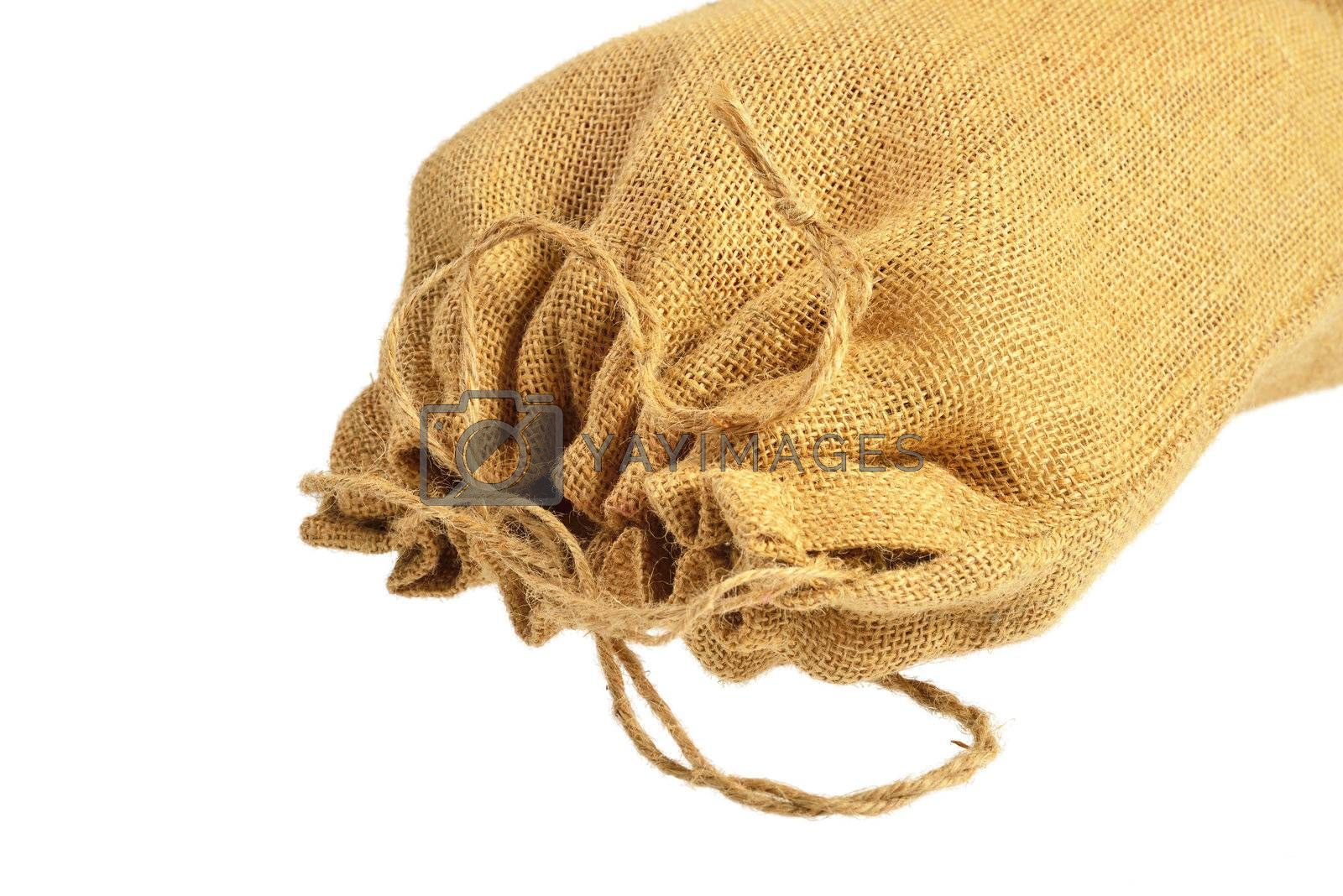 Royalty free image of Cloth bag with drawstrings by grauvision