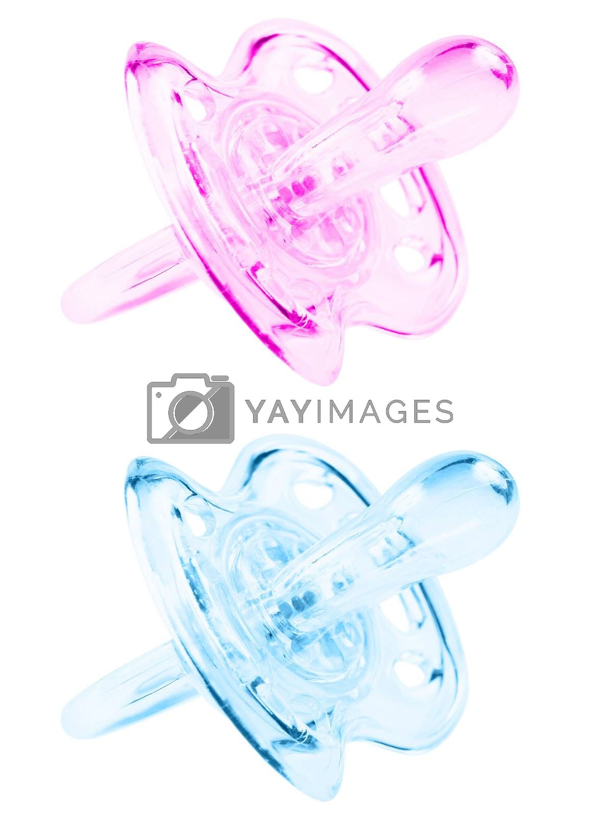 Blue and pink pacifier. Isolated on white background