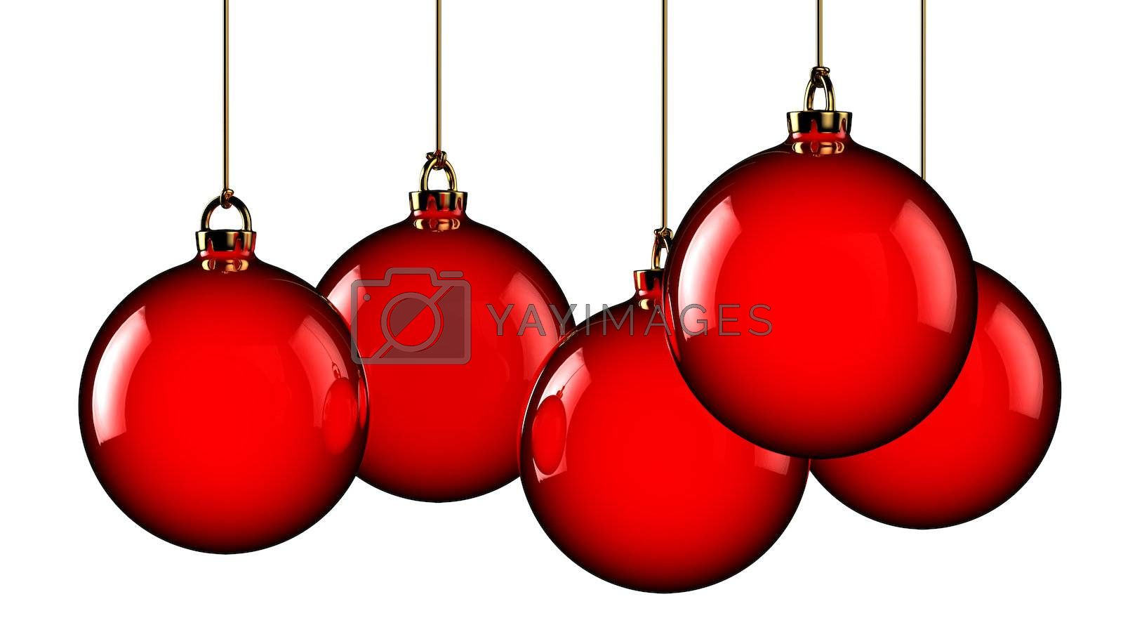 Five hanging red christmas balls isolated on white