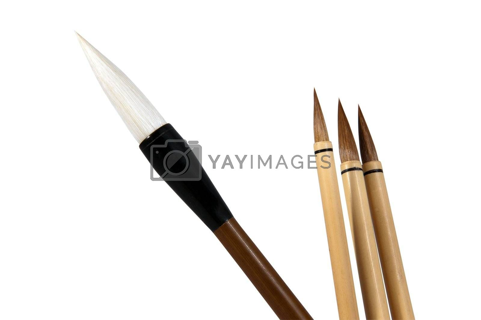 Chinese brushes isolated on white with clipping path
