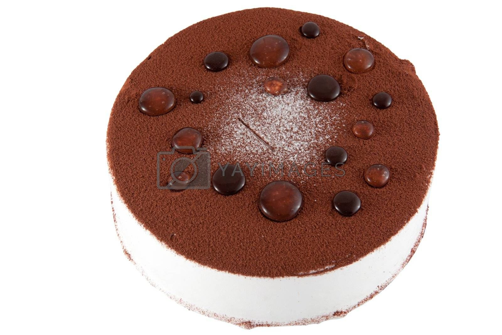 Birthday cake with chocolate isolated on white