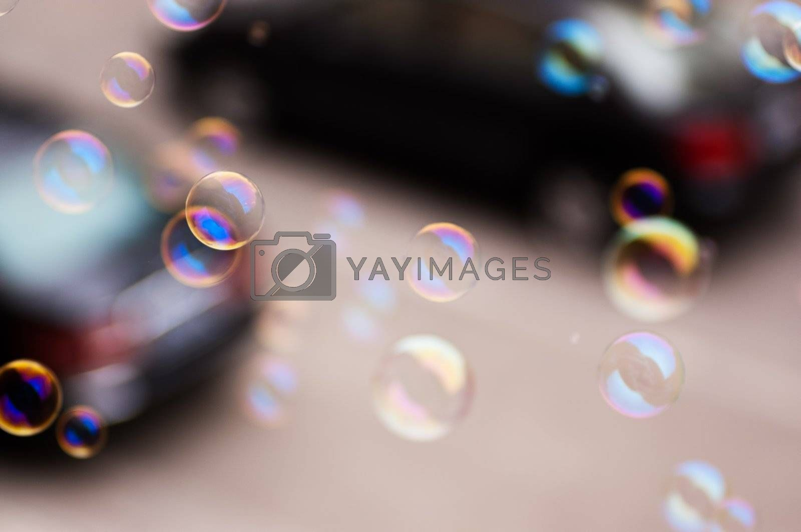 Soap bubbles in the air
