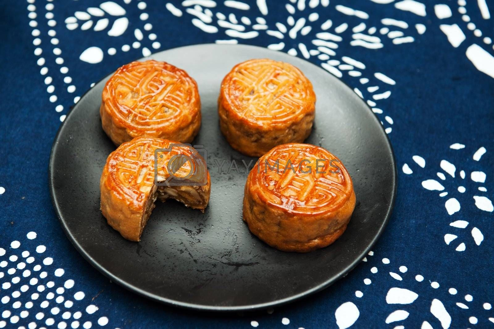 Group of moon cakes on the plate
