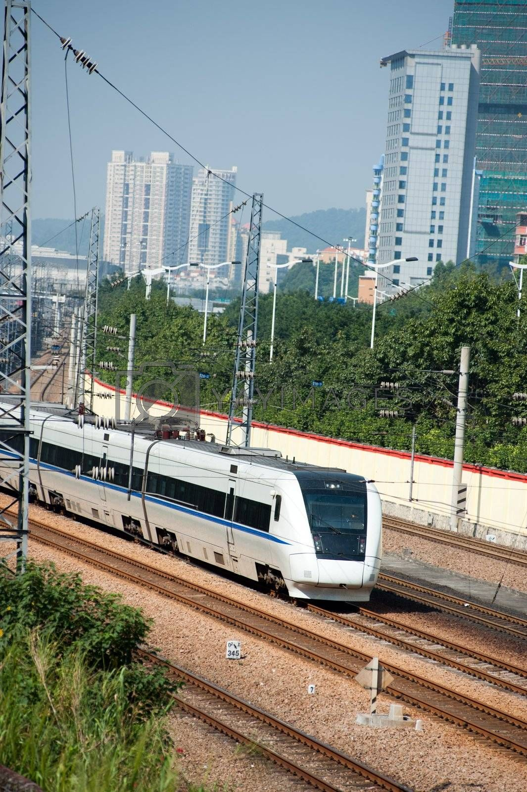 Train running on rail in Canton, China