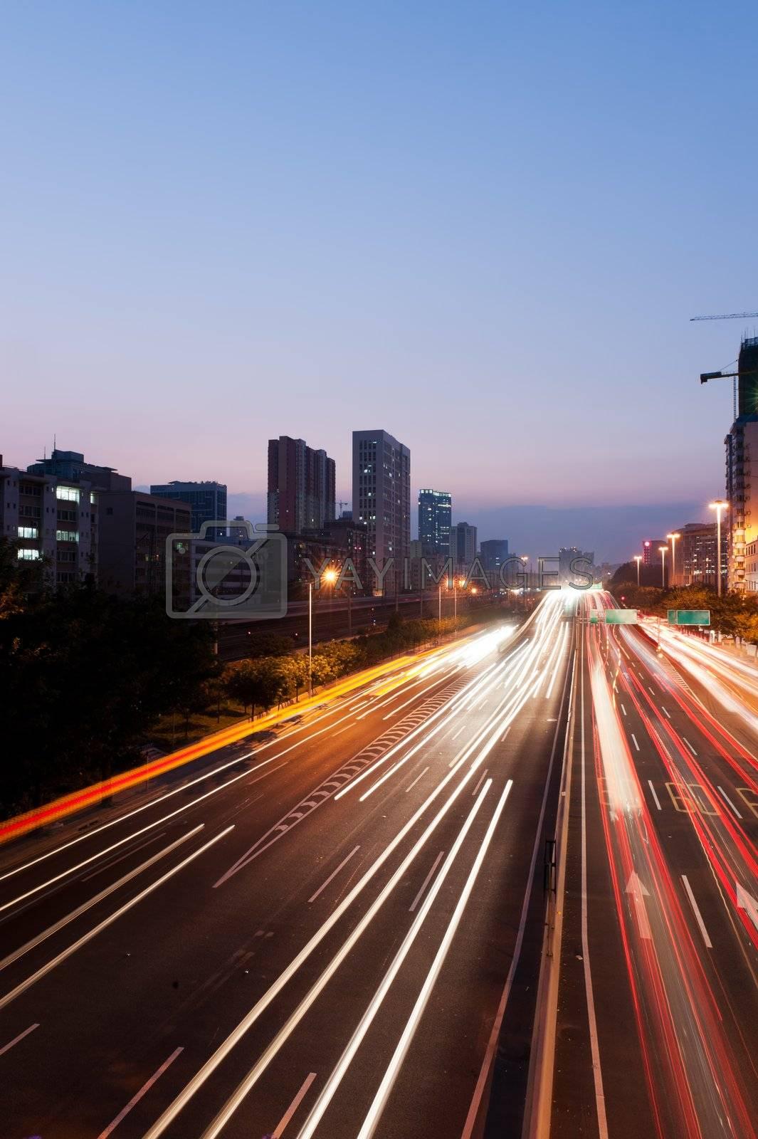 Night scene of express way in Guangzhou, China