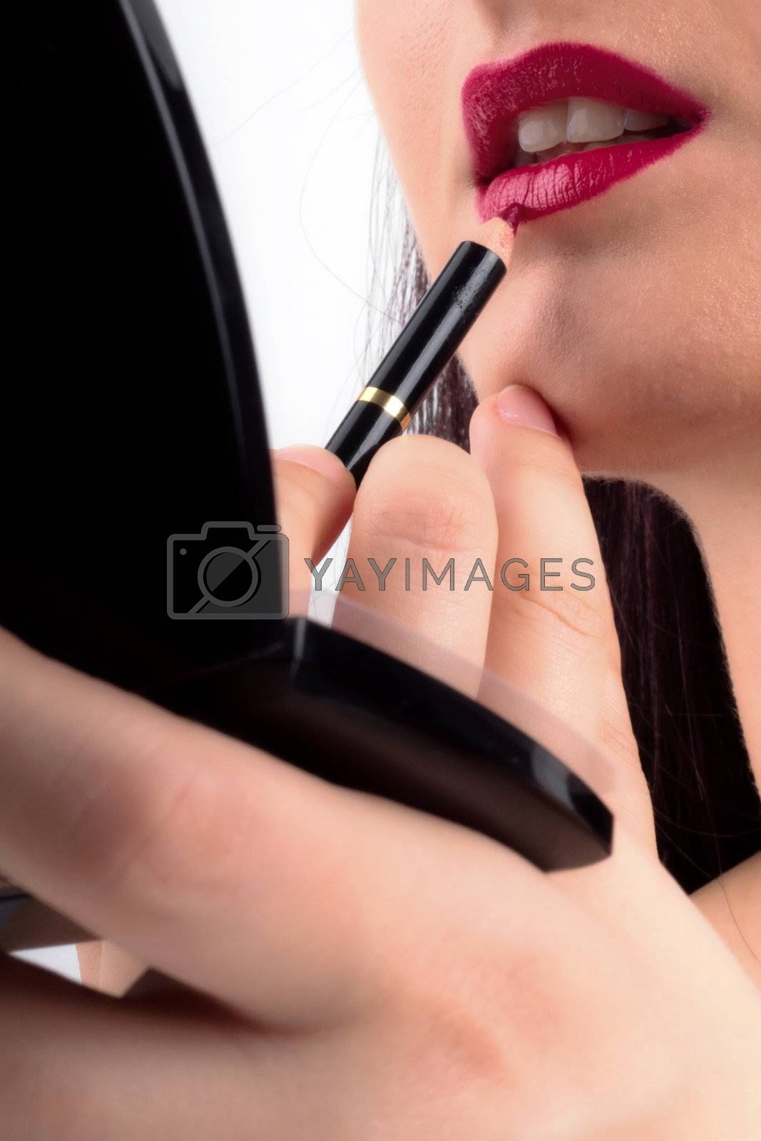 Part of Attractive Woman's Face with Fashion Shiny Red Lips Makeup.
