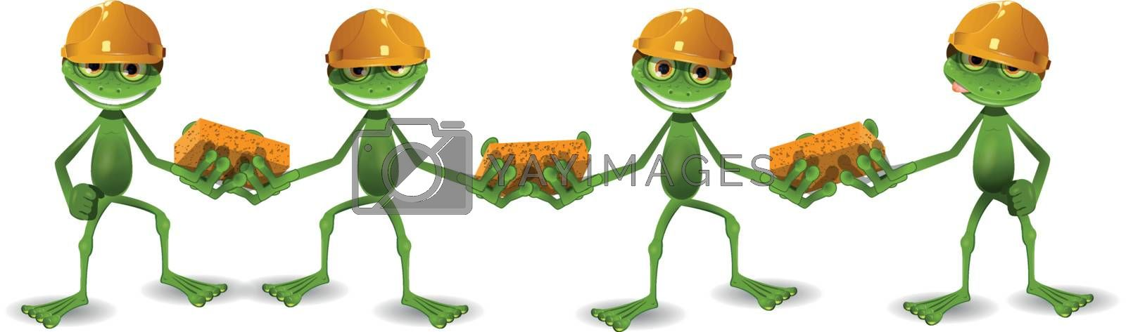 four frogs builder in helmets with bricks