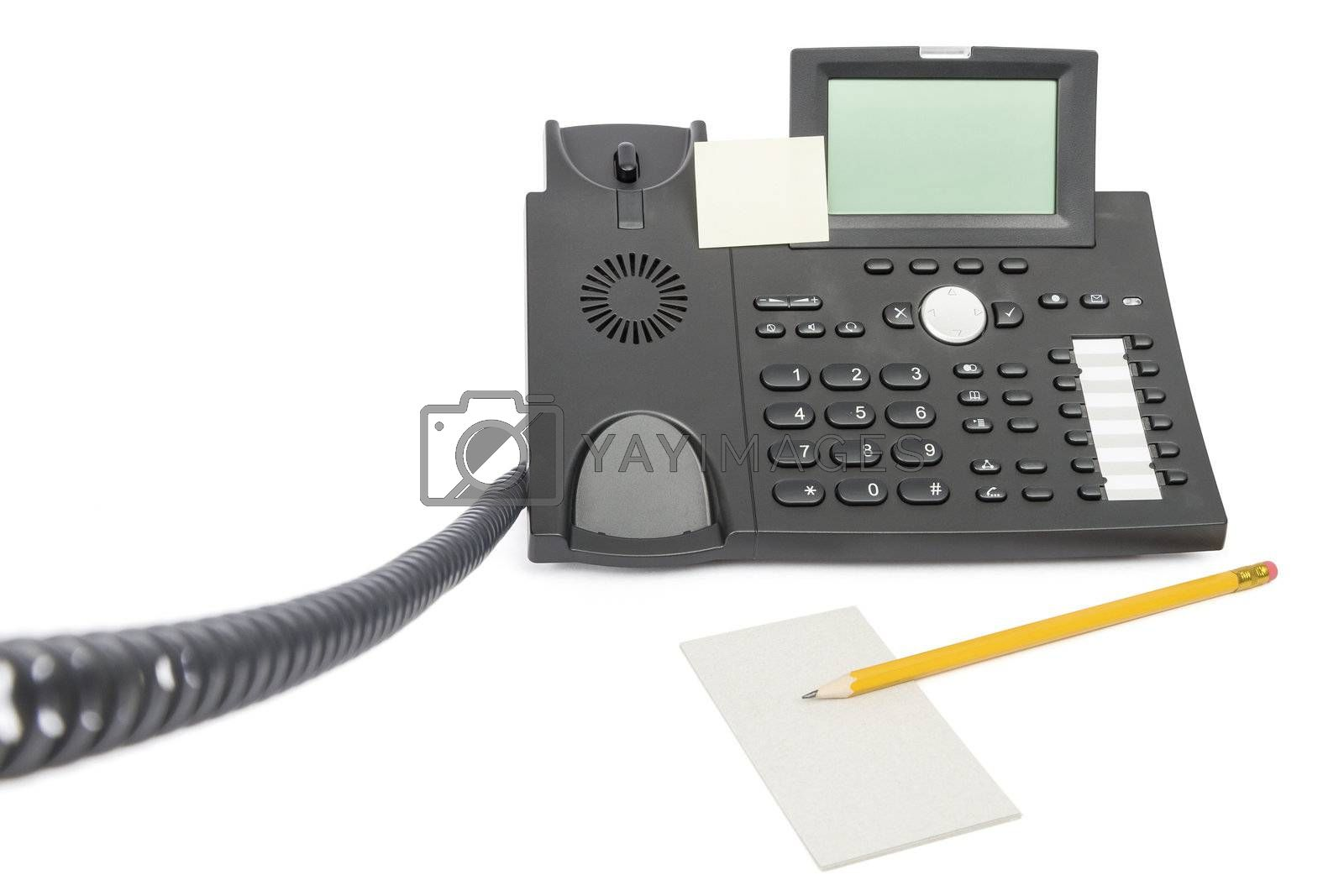 modern business phone with memo and pencil isolated on white background