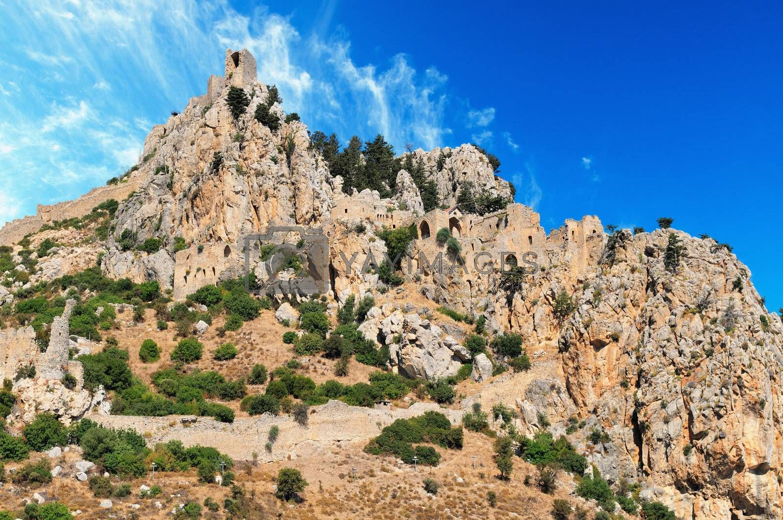 Monastery Saint Hilarion Castle on mountain in Cyprus.