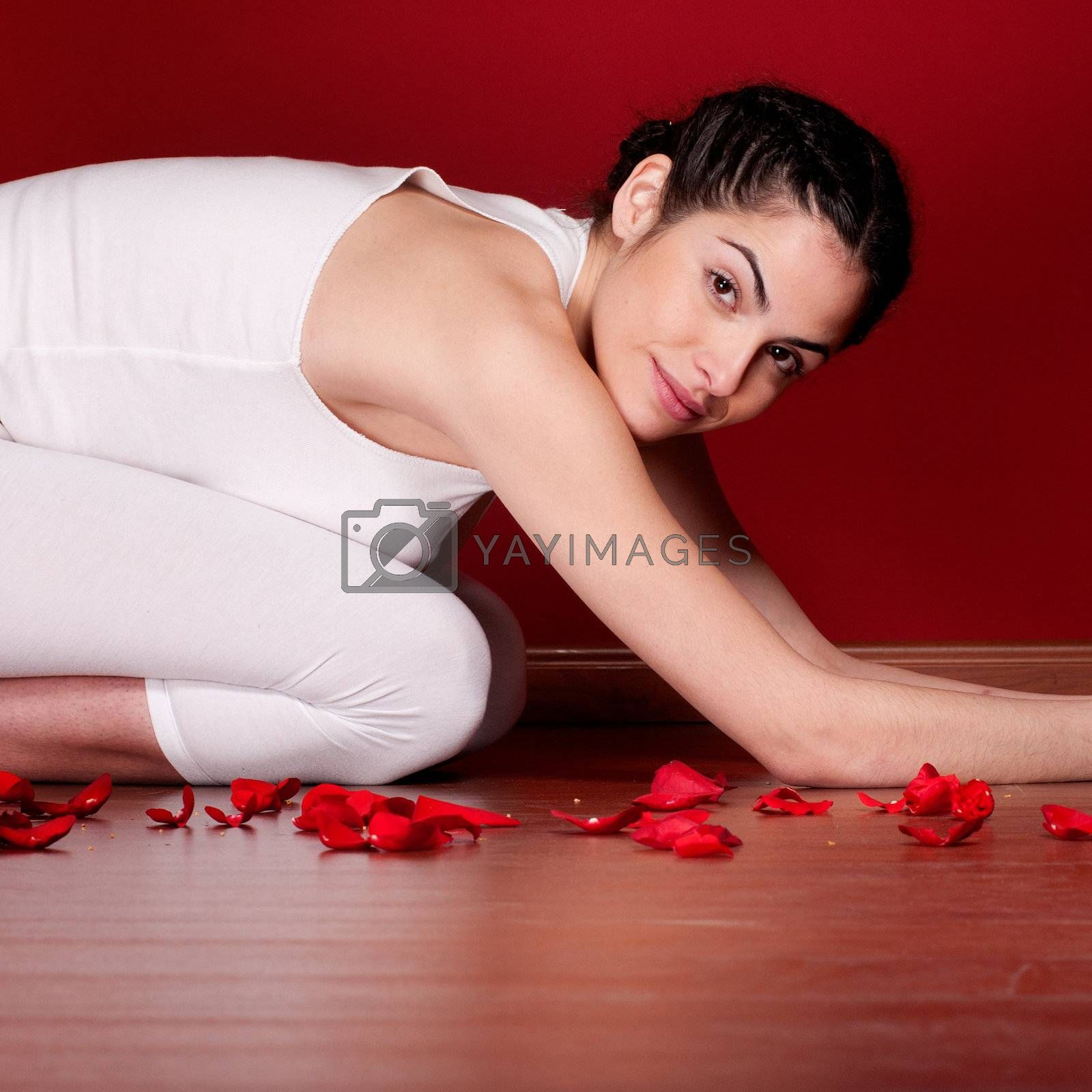 Relaxing woman stretching in spa