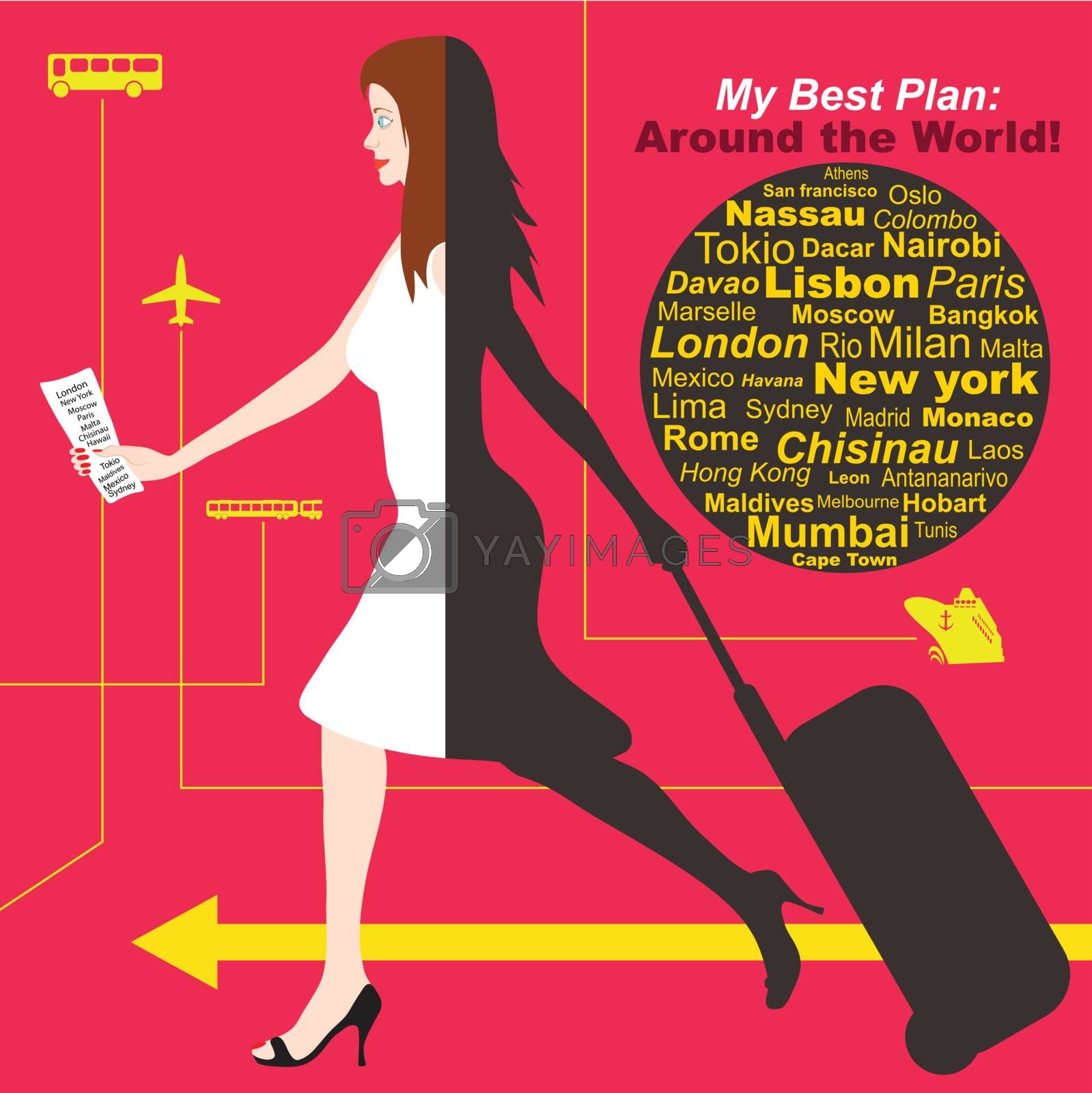 Woman travel around the world by plane, bus, ship, train with one bag