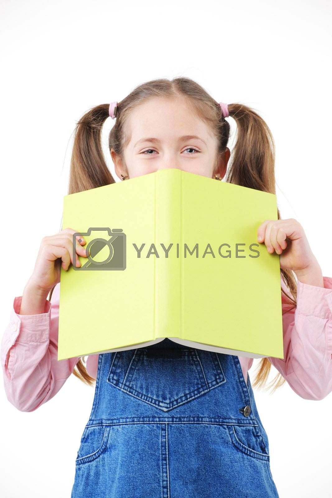 Beautiful little girl student hold textbook on white background