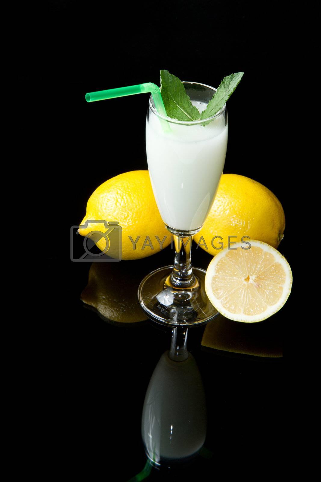 lemon sorbet on black background
