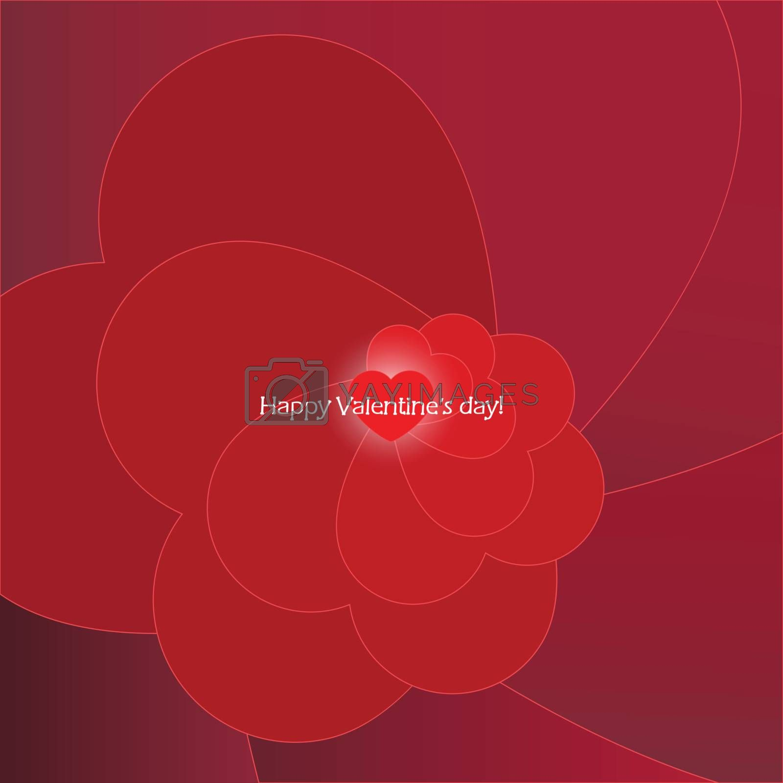 Valentines Day red card. Vector background with love.