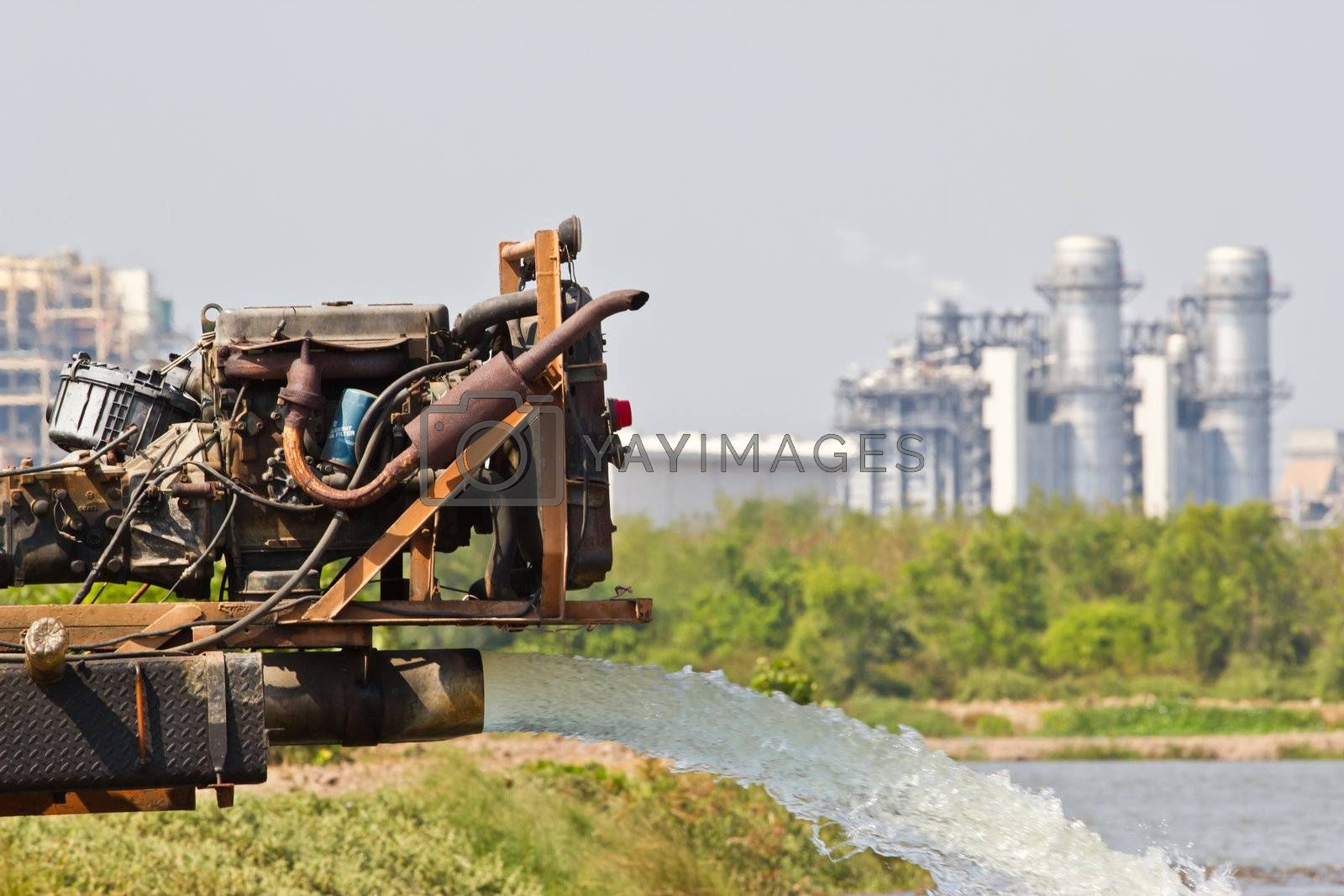water pump updated water from  electric power station where Chonburi