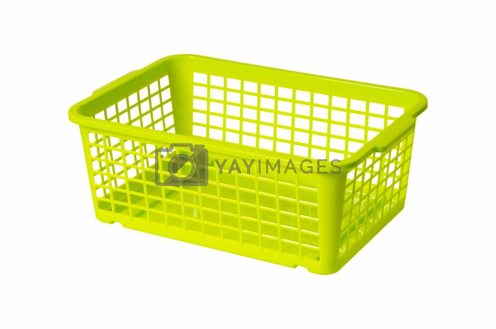 Plastic laundry basket green color. Isolated on white background