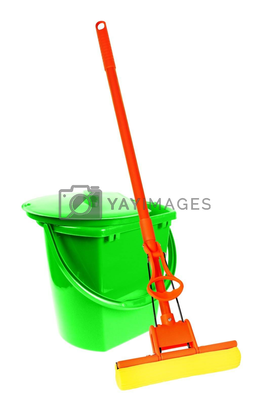 Mop and bucket for washing floors. Isolated on white background