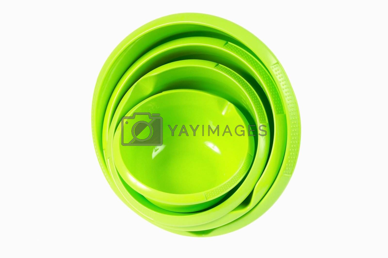 Set of green plastic bowl. Isolated on white background