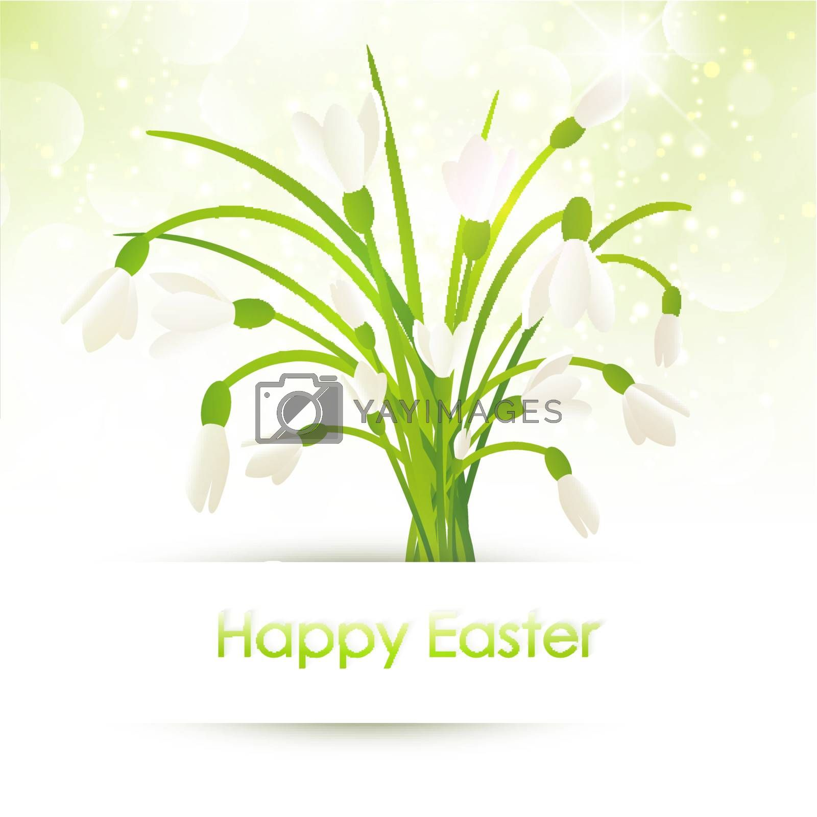 Happy Easter Greeting With Snowdrop Flowers Over Bright Background