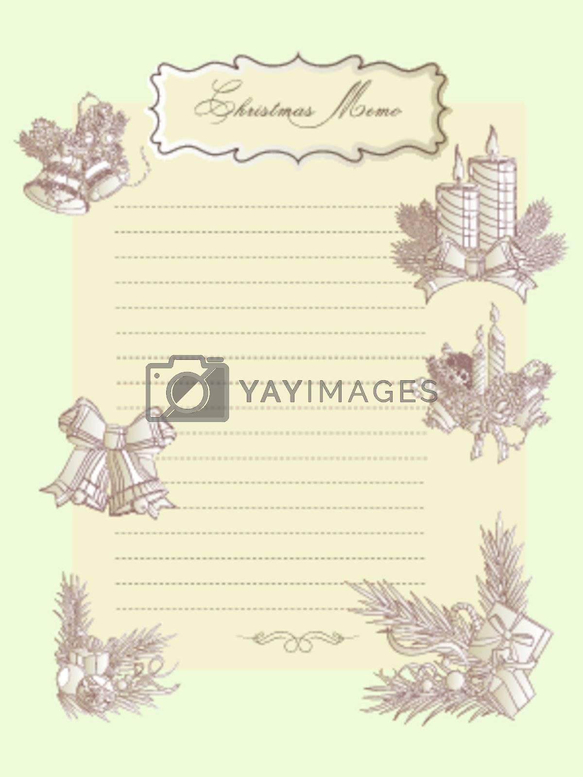 Christmas seasons vintage memo sheet