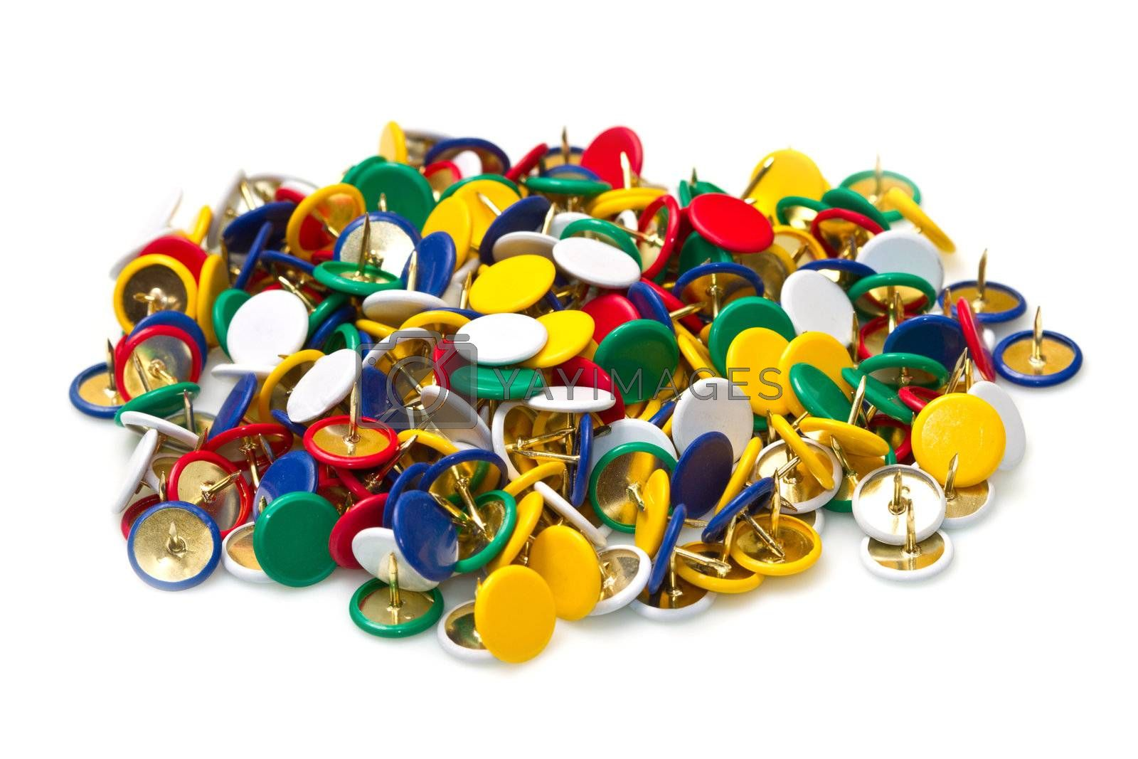 a group of colored pushpins