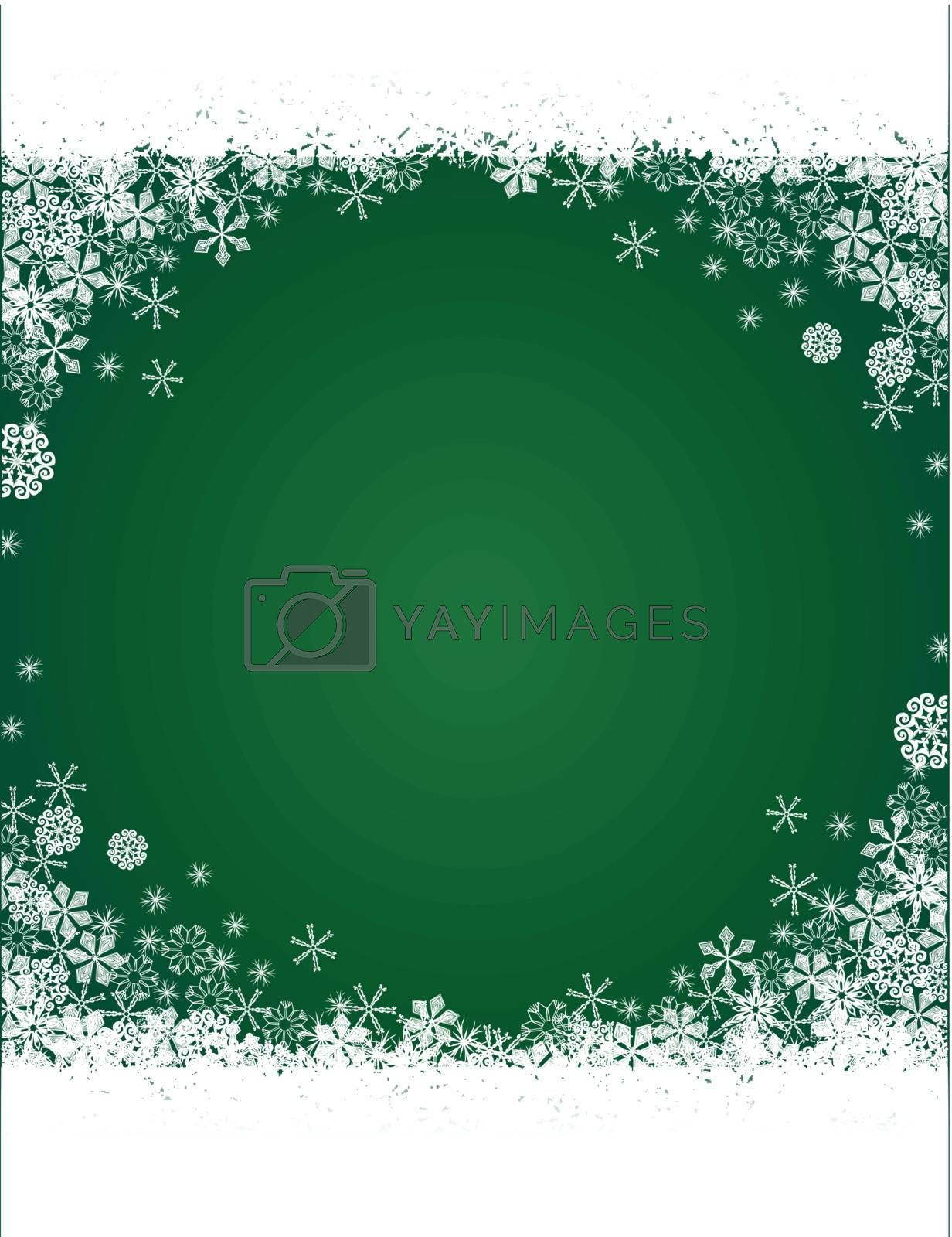 Christmas green background with snowflakes pattern