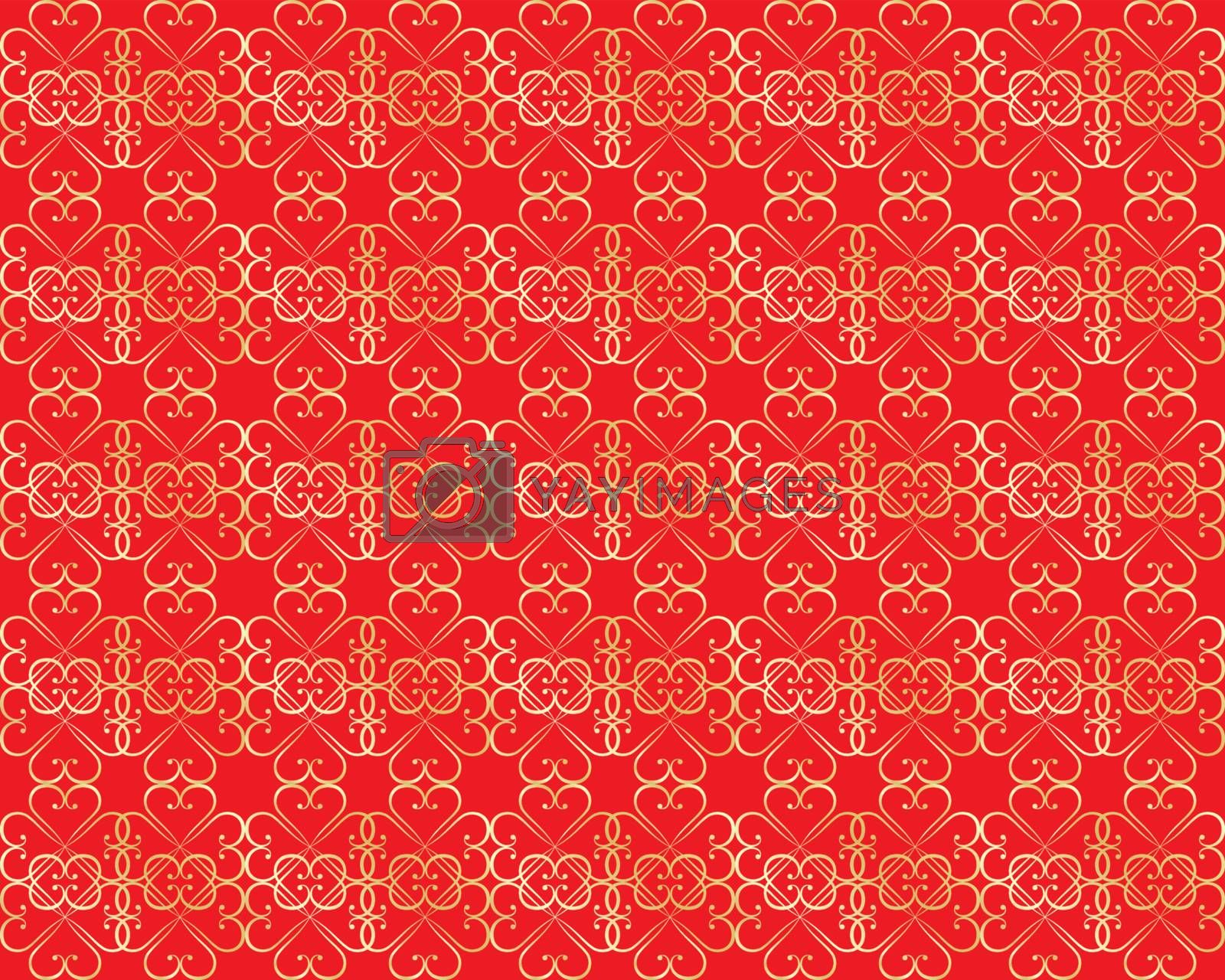 seamless red with golden pattern for Valentines Day