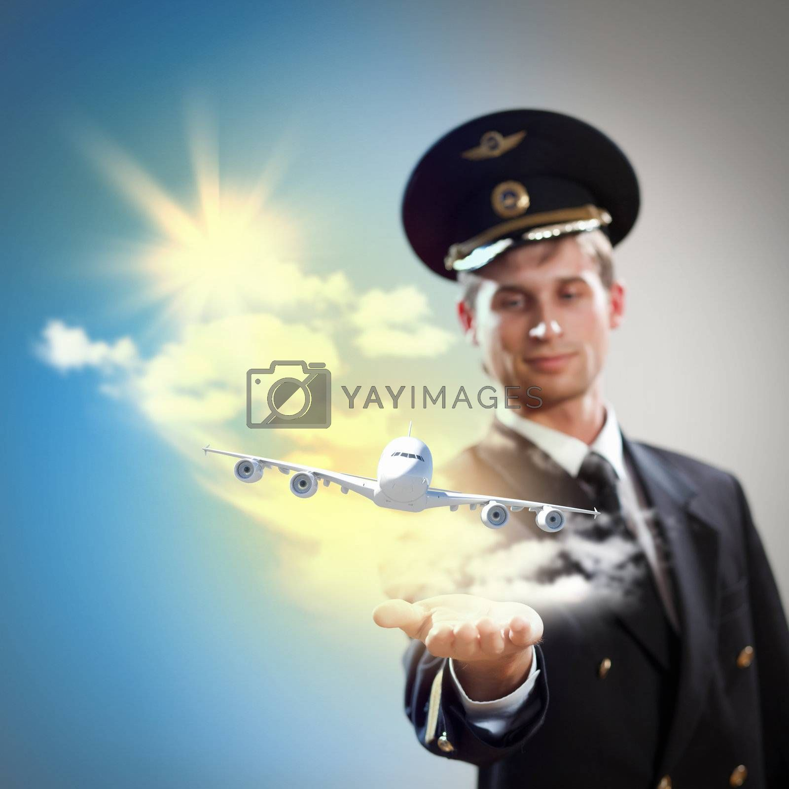 Image of pilot with airplane taking off from his hand