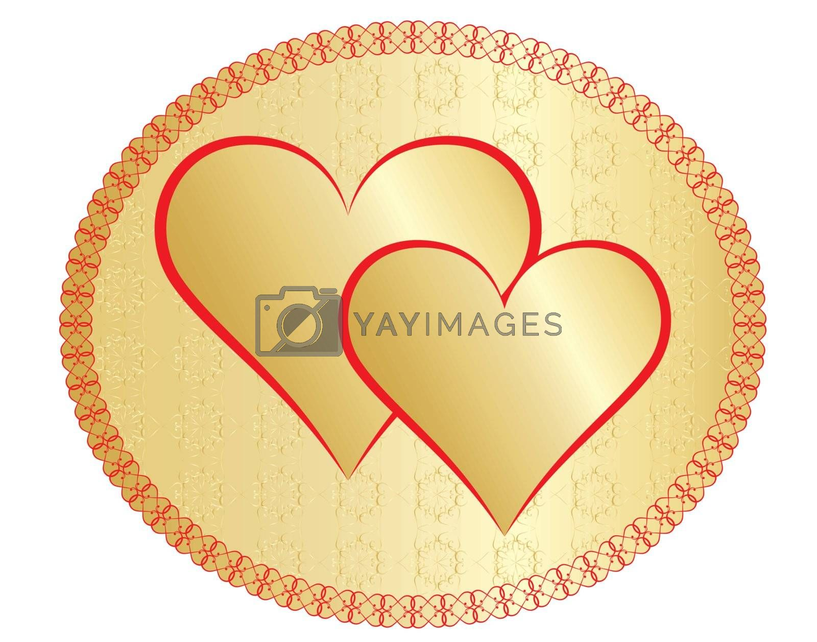 two golden valentines in a round frame vector illustration