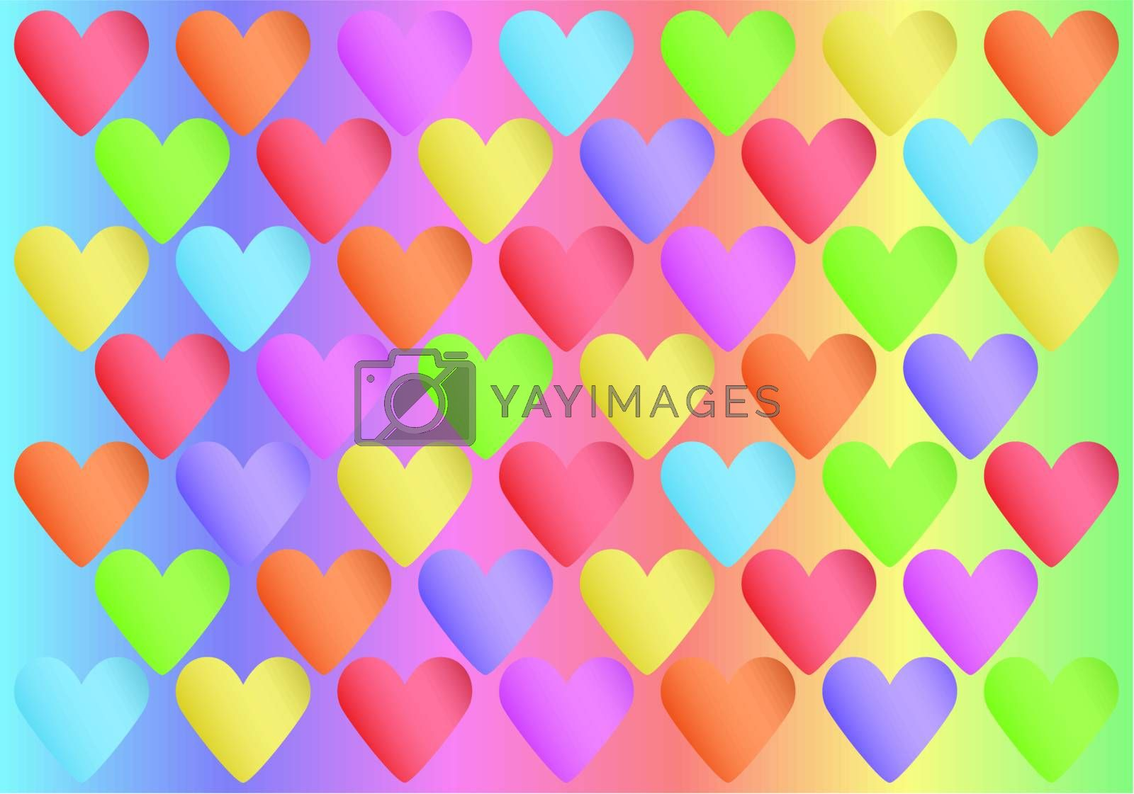 abstract spectrum background with color valentines vector illustration