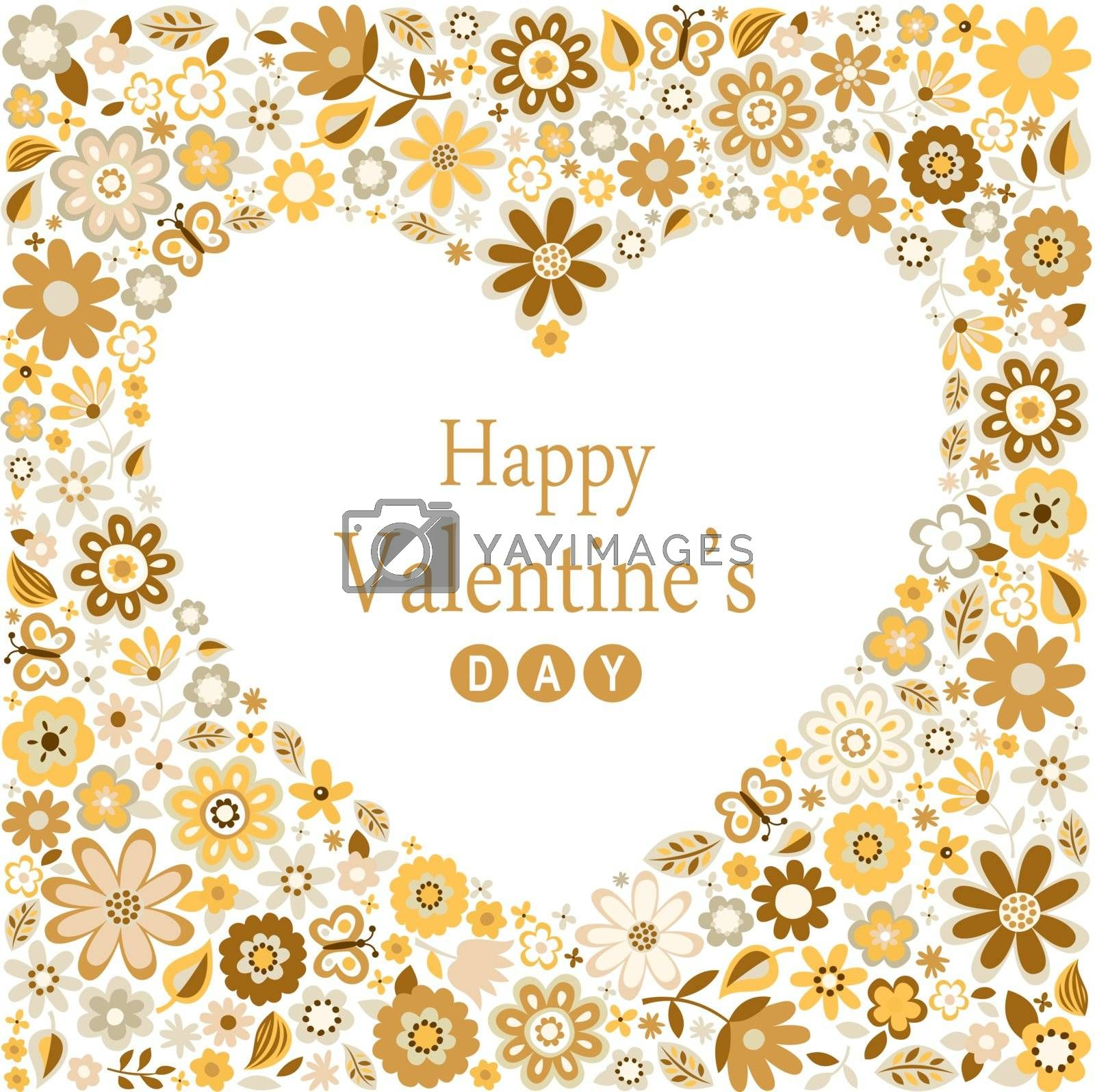 romance heart valentines flower card