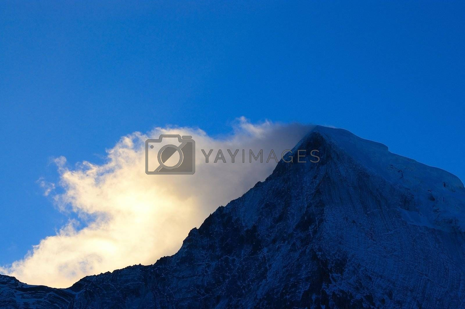 Snowy Mountains at dawn in Yading, Daocheng county, Ganzi district, Sichuan province, China