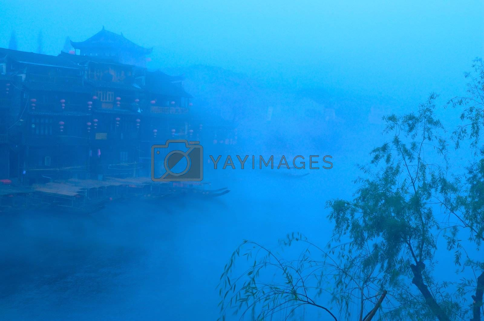 Landscape on the river in Fenghuang county, Hunan province, China