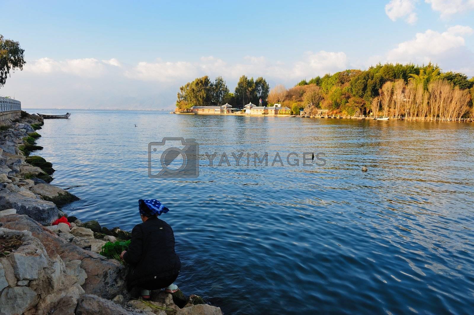 Lake landscape in Dali, Yunnan province of China