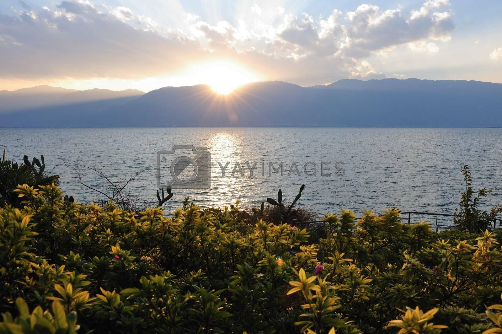 Lake sunset landscape in Dali, Yunnan province of China