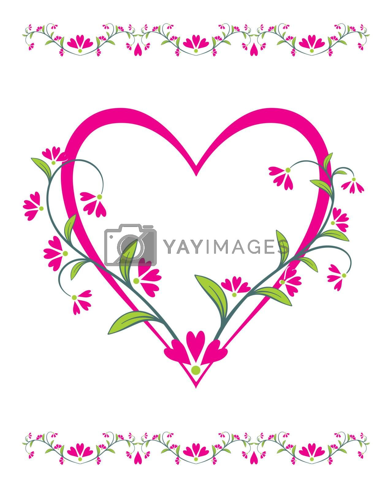 Valentines Day frame with heart and flowers, element for design, vector illustration