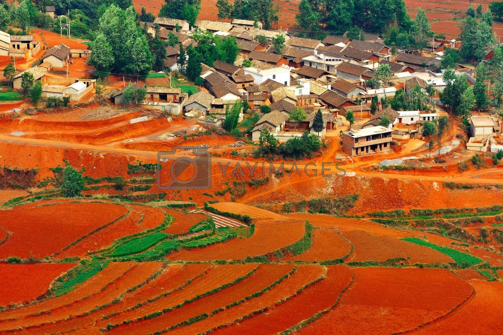Village on the red field in Dongchuan district, Kunming city, Yunnan province,  China