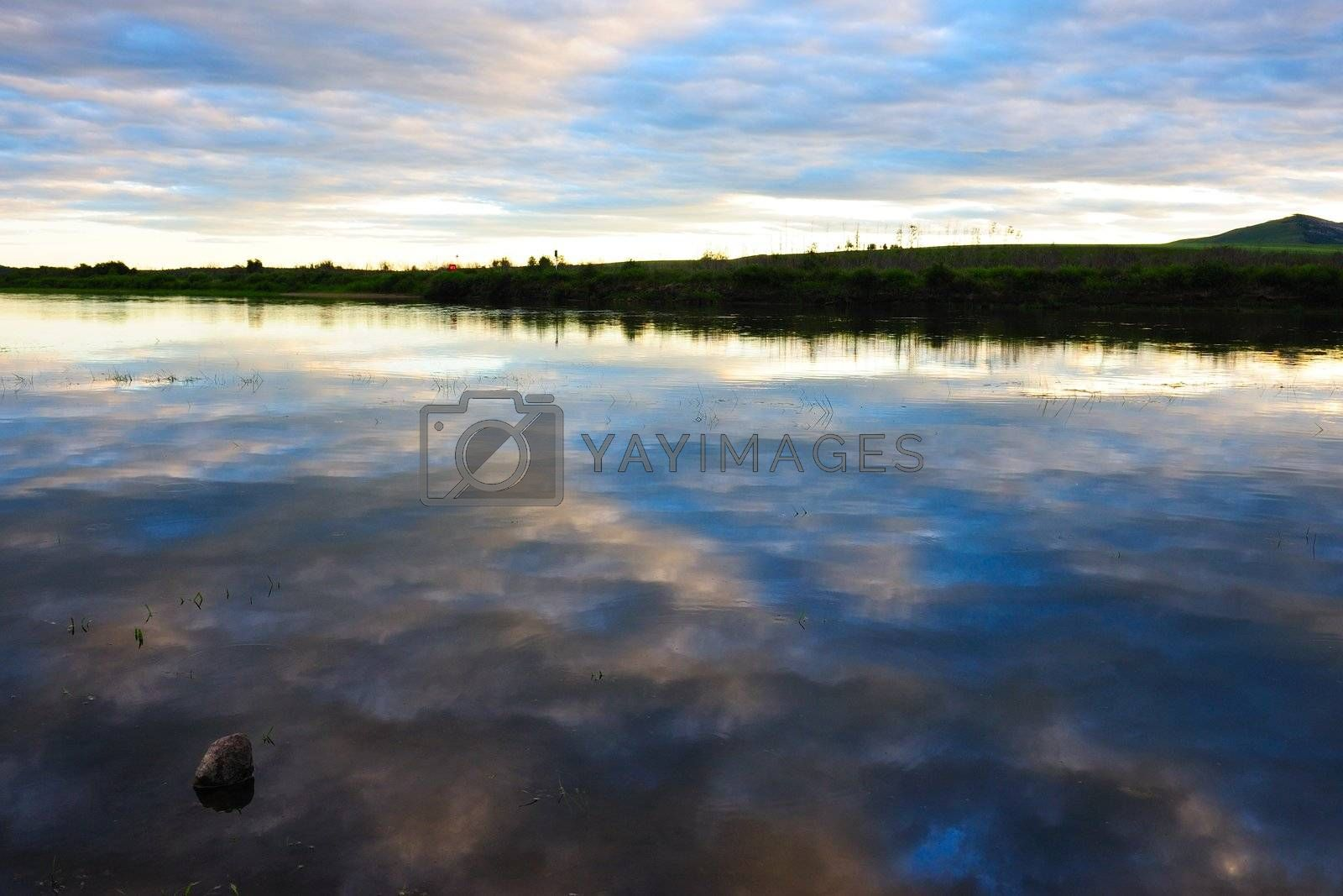 Beautiful river and cloud landscapes at sunset