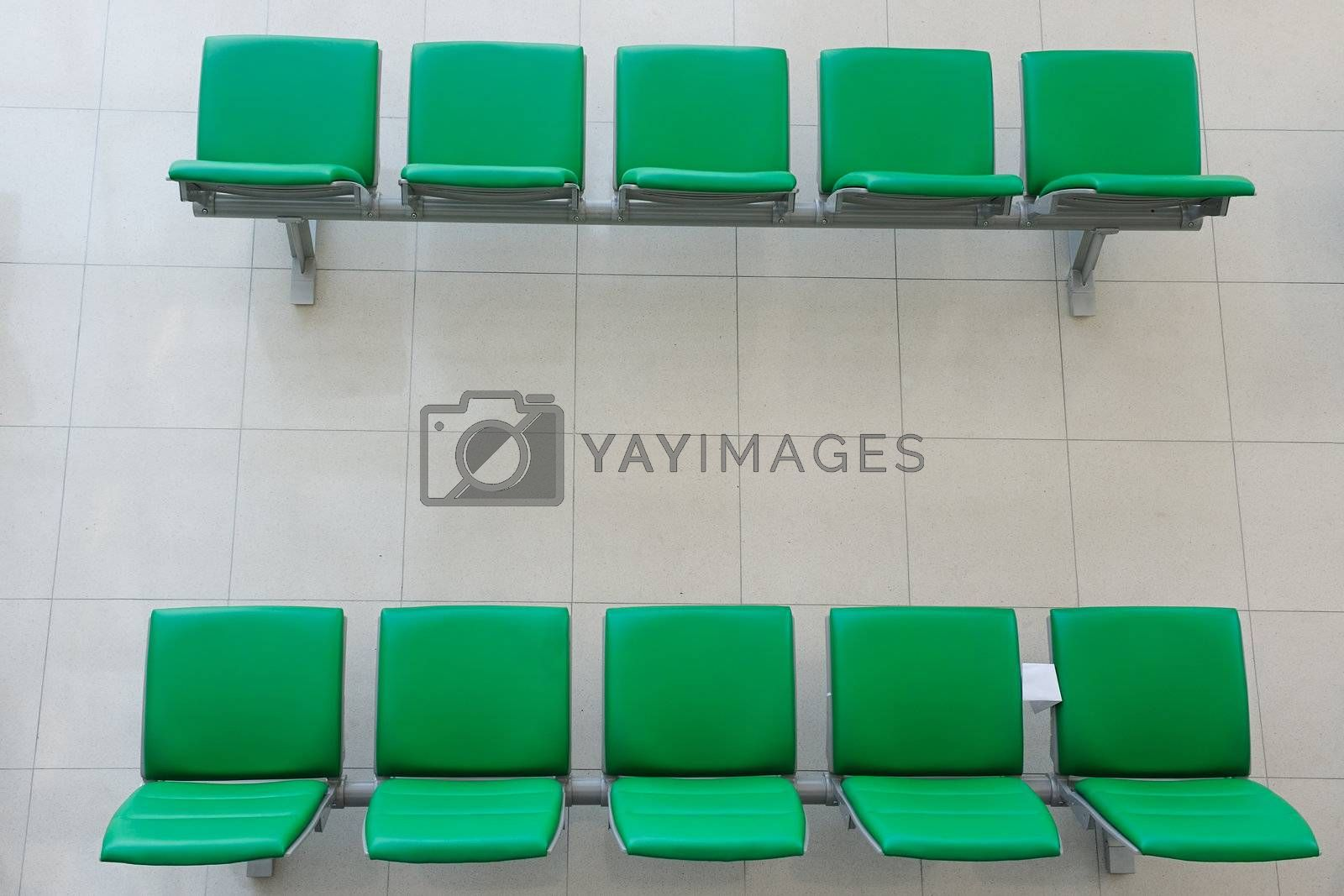 Chairs in departure hall of the airport