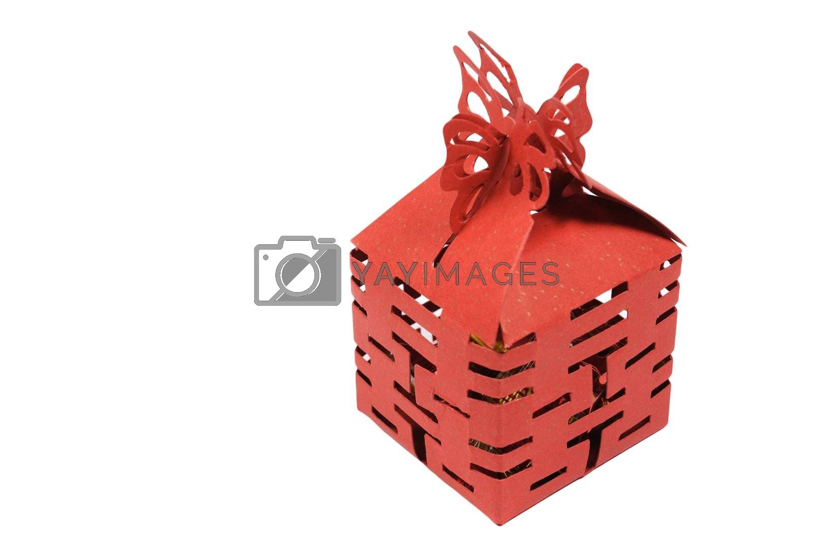A box of wedding candies isolated against white background