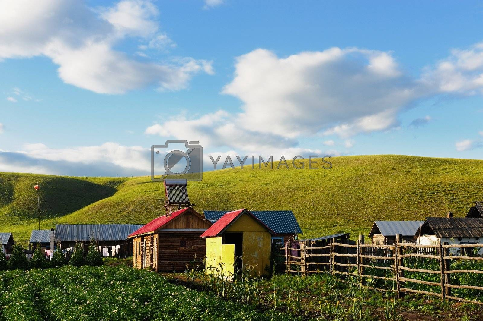 China rural landscape in the grassland of Hulun Buir League, Inner-Mongolia, China