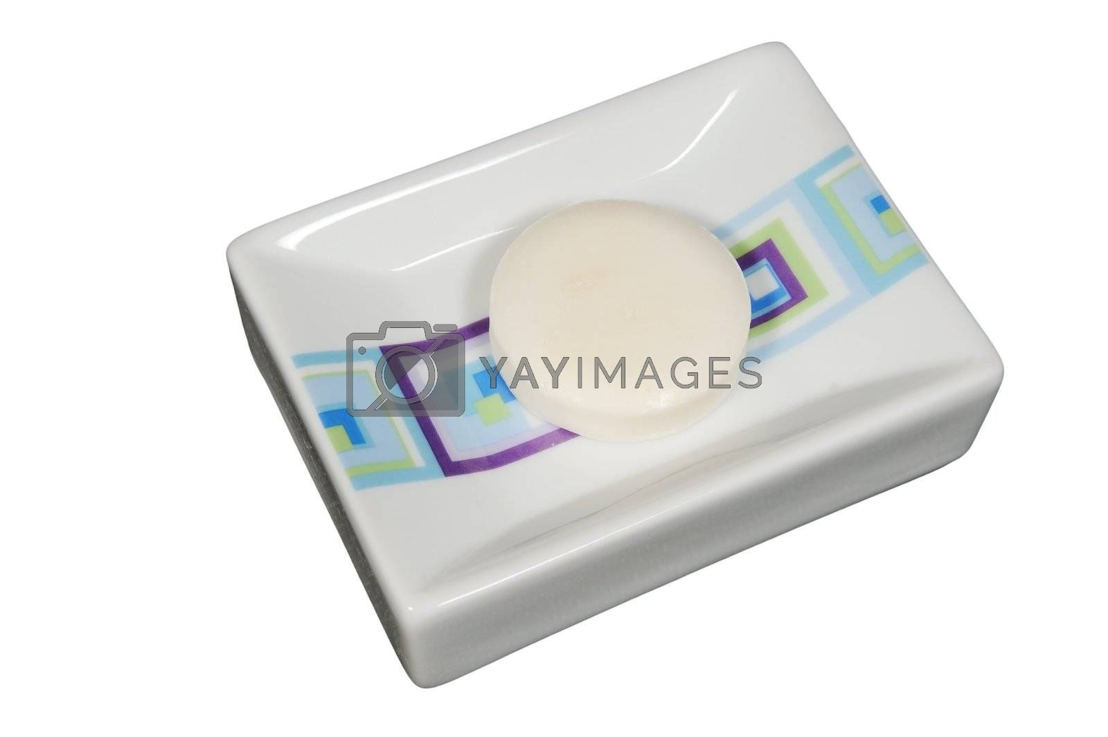 Soap and soap box isolated on white background