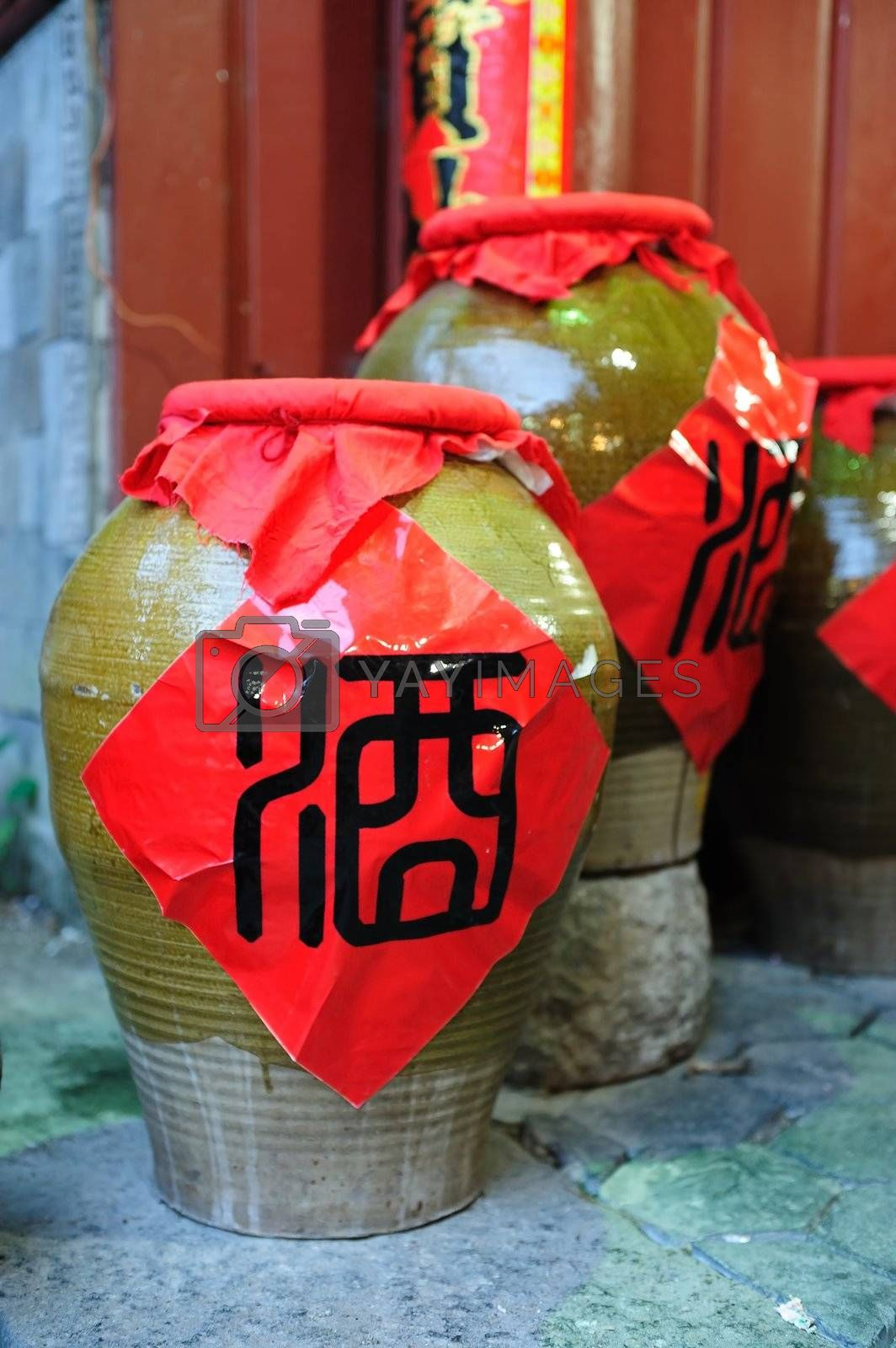 China traditional wine jars in the yard