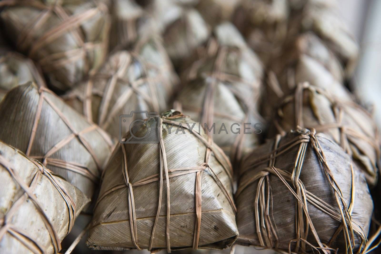 Chinese rice dumplings wrapped in reed leaves