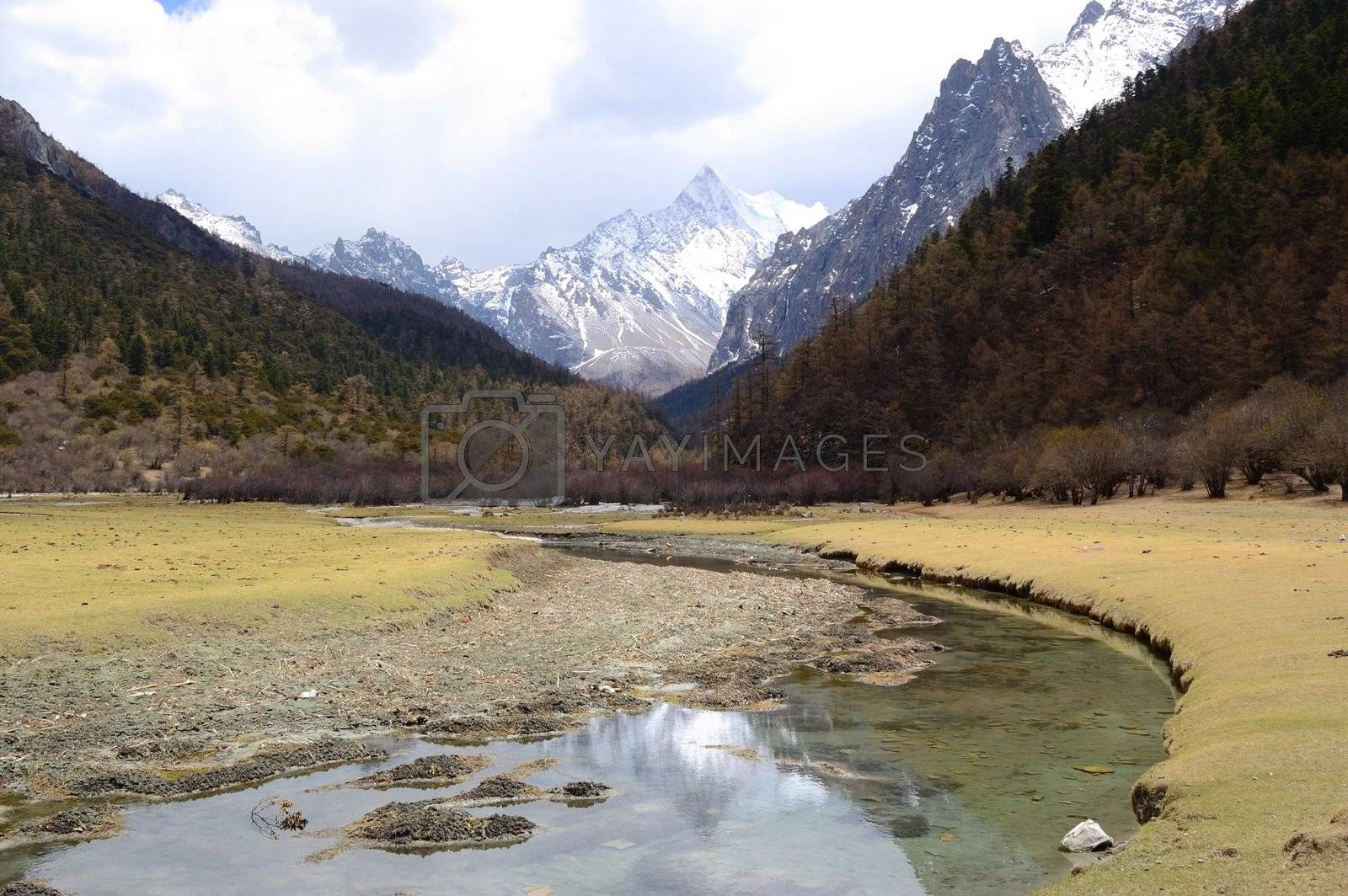 Landscapes of Snow mountains in Daocheng,Sichuan Province, China