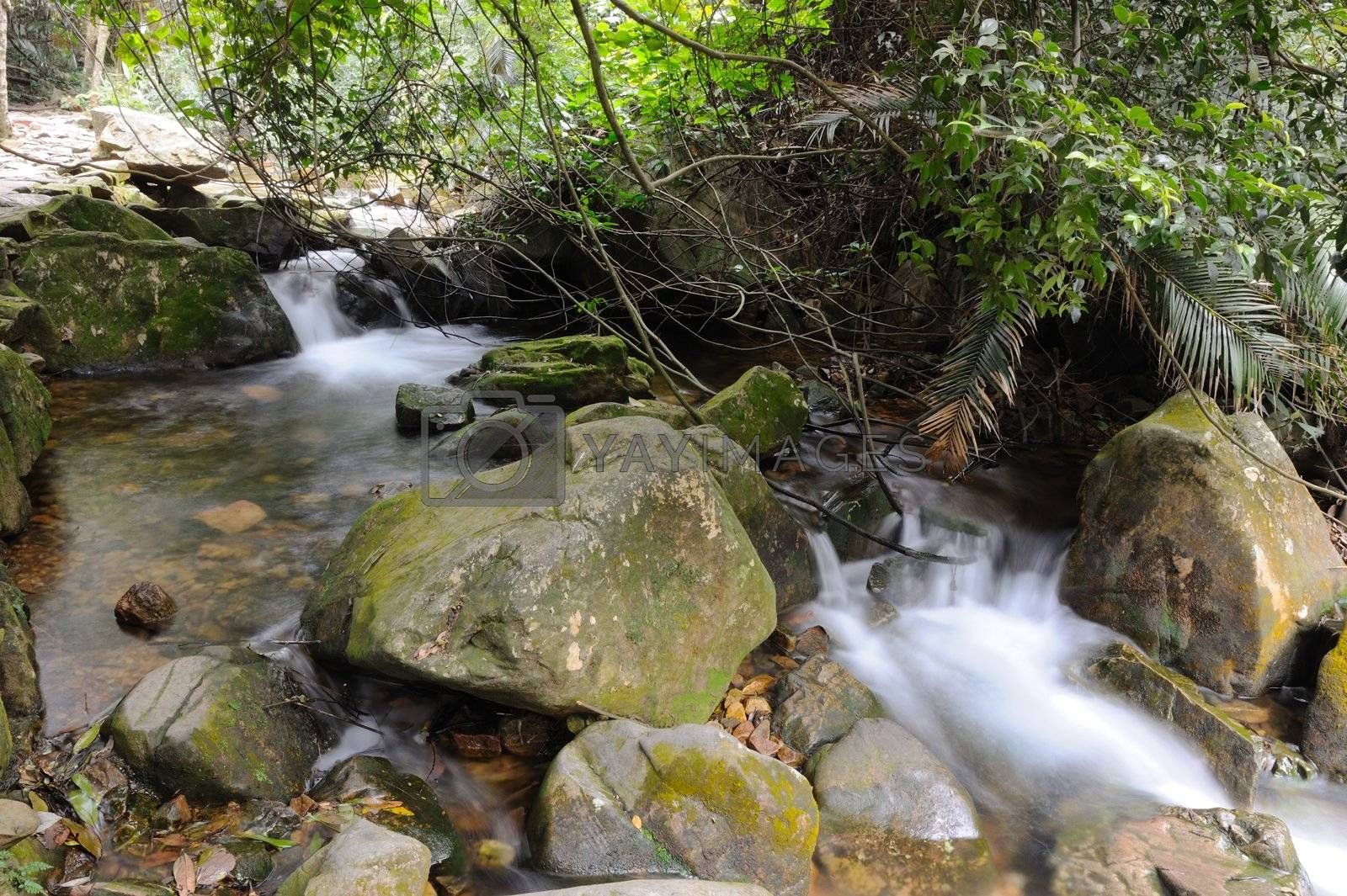 Flowing stream water in China mountain areas