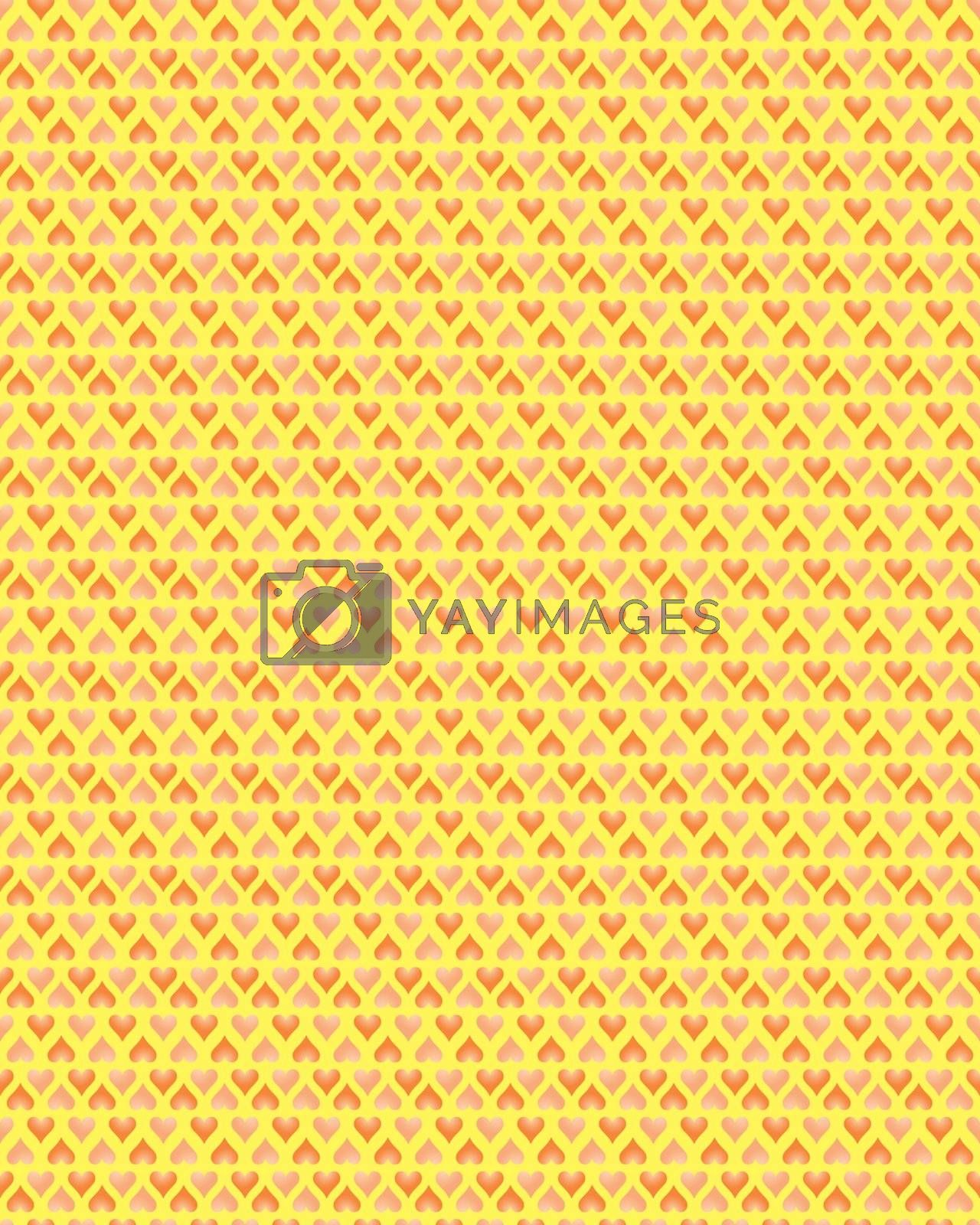 seamless pattern with pink and red valentines over yellow